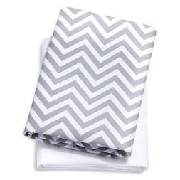 Circo Pack 'N Play Yard Sheets, Set of 2, Grey Chevron & Whi