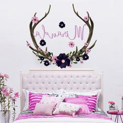 Name Wall Decal Rustic Nursery Decor Antlers Deer Decal Girl