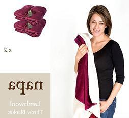 "【Pack of 2】Napa Sherpa Throw Blanket Wine 50""x60"" - Luxu"