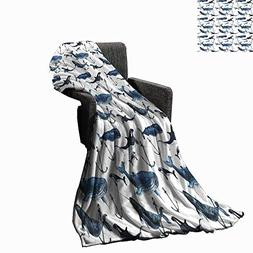 Luckyee Narwhal Throw Blanket Watercolor Narwhals Orcas and