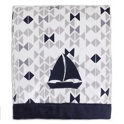 Nautica Kids Mix & Match Velboa Sailboat Blanket in Navy/Gre