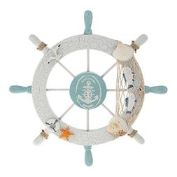Rienar Nautical Beach Wooden Boat Ship Steering Wheel Fishin