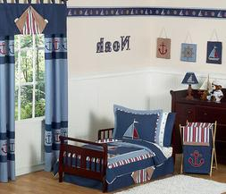 Sweet Jojo Designs 5-Piece Nautical Nights Boys Sailboat Tod