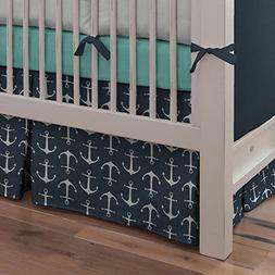 Carousel Designs Navy Anchors Crib Skirt Box Pleat 14-Inch L