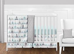 Sweet Jojo Designs 11-Piece Navy Blue, Aqua and Grey Aztec M