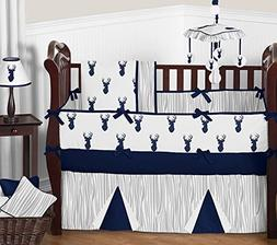 Navy Blue Grey And White Deer Baby Bedding Newborn Boy Crib