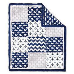 Navy Blue Whales and Anchors Patchwork Baby Crib Quilt by Th