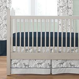 Carousel Designs Navy and Gray Woodland Crib Skirt Box Pleat