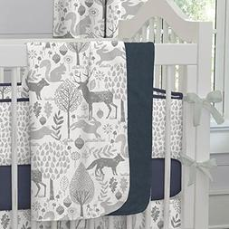 Carousel Designs Navy and Gray Woodland Crib Blanket