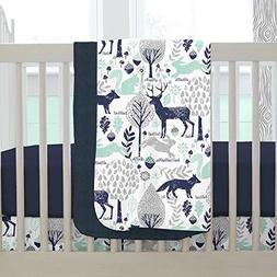 Carousel Designs Navy and Mint Woodlands Crib Blanket