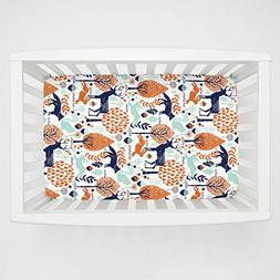 Carousel Designs Navy and Orange Woodland Animals Mini Crib