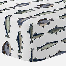 Carousel Designs Navy and Seafoam Fish Crib Sheet - Organic