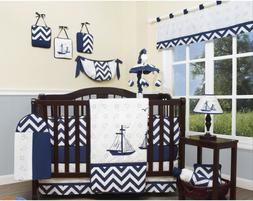 Navy White Nautical 13 pc Crib Bedding Set Baby Boy Nursery
