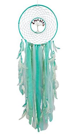 SuSvapnaah Net Ribbons & Faux Feather Dreamcatcher Large Boh