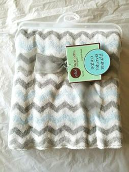 American Baby Company Cotton Sweater Blanket Blue & Gray Zig