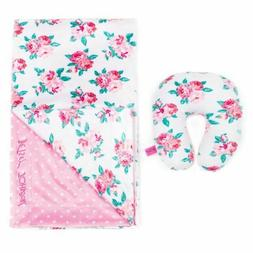 NEW! Betsey Johnson 2-Piece Floral Baby Blanket and Pillow S