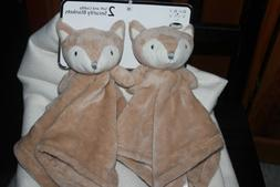 NEW Bon Bebe 2pc FOX  Baby Security Blanket Set Tan foxes  N