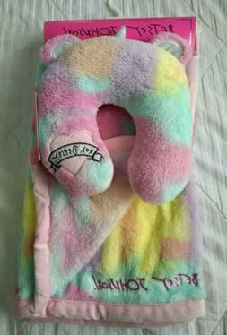 "New Betsey Johnson 2pc Set 30x36"" Rainbow Fleece Baby Blanke"