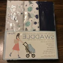 Lollypop NEW *3 Muslin Swaddle Blankets* BABY GIFT Blue Star