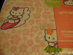 NEW 3-piece HELLO KITTY Hawaiian Surfing TWIN Sheet set