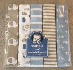 New! Gerber 5 Pack Baby Boy Receiving Blanket Flannel Elepha