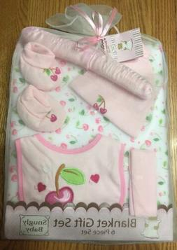 New 6 Piece Girls Blanket Gift Set in Pink by Snugly Baby