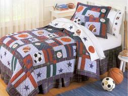 NEW All Sports Baseball Soccer Boys Kids Bedding Quilt & Sha