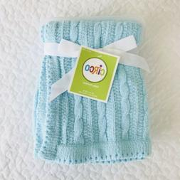 NEW Circo Aqua Blue Chenille Cable Knit Baby Blanket Soft Ta