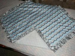 NEW AQUA Minky Dots Baby Blanket White Gray Silver Satin Ruf