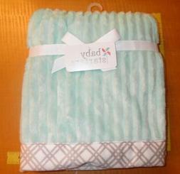 New Baby Starters Aqua Soft Crib Baby Blanket Gray white Tri