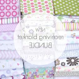 NEW Assorted 8 Piece Baby Girl Receiving Blanket Lot Bundle