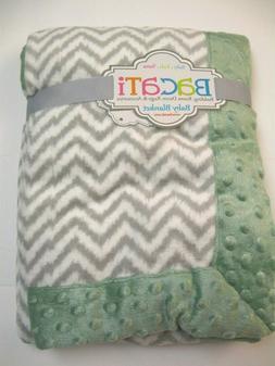 NEW - Bacati Baby Blanket 30 x 40 inches Gray,Green Chevron