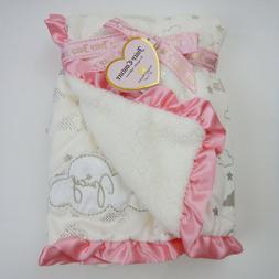 New Juicy Couture Baby Blanket Girl Pink Satin Trim White Si