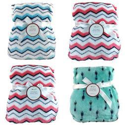 New Baby Blanket Plush Fleece Chevron Arrow Pink Blue White