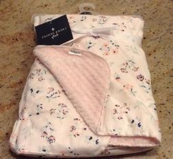 Laura Ashley New Baby Blanket White & Pink Floral Velvet Sof