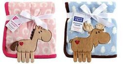 New Baby Coral Fleece 3D Animal Blanket Nursery Boys Moose H
