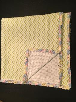 New Handmade Baby Flannel Blanket with Crochet Edge Green wi