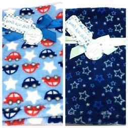 new baby fleece crib blanket cars stars