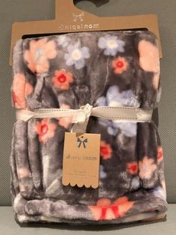 NEW Mon Lapin Baby Girl Blanket ,Velvet,Flowers,Gray  30 x 4