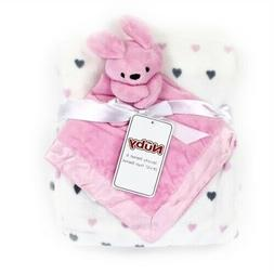 NEW BABY GIRL BUNNY PLUSH BLANKET AND SECURITY BLANKET BABY