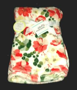 "NEW! Baby Girls ""Baby Starters"" Floral Plush BLANKET sz 30"""