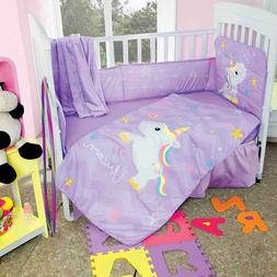 New Baby Girls I Love Unicorn Purple Nursery Crib Bedding Se