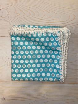 New Baby Hand Crocheted Edge Baby Blanket Shower Gift Tiffan