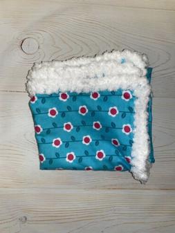 New Baby Hand Crocheted Edge Baby Blanket Shower Gift Blue T