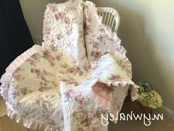 NEW BABY QUILT BLANKET Throw made w/Simply Shabby Chic Bloom