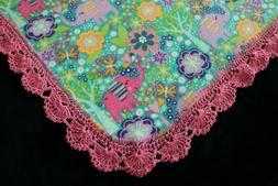 New Baby Shower Gift Receiving Blanket Girl's Hand Crocheted