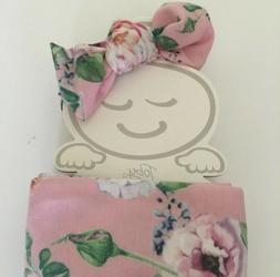 NEW Baby Swaddle Wrap Cocoon Blanket with Headband Pink Flor