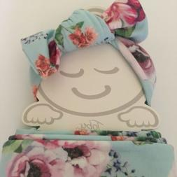 NEW Baby Swaddle Wrap Cocoon Blanket with Headband Floral Ne