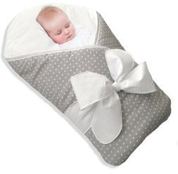 NEW BundleBee Baby Wrap Swaddle Blanket In Gray/White Polka