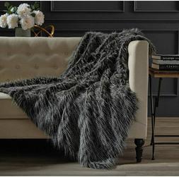 NEW Hotel Style Black Peacock Faux Fur 50 x 60 Cozy Soft Fur